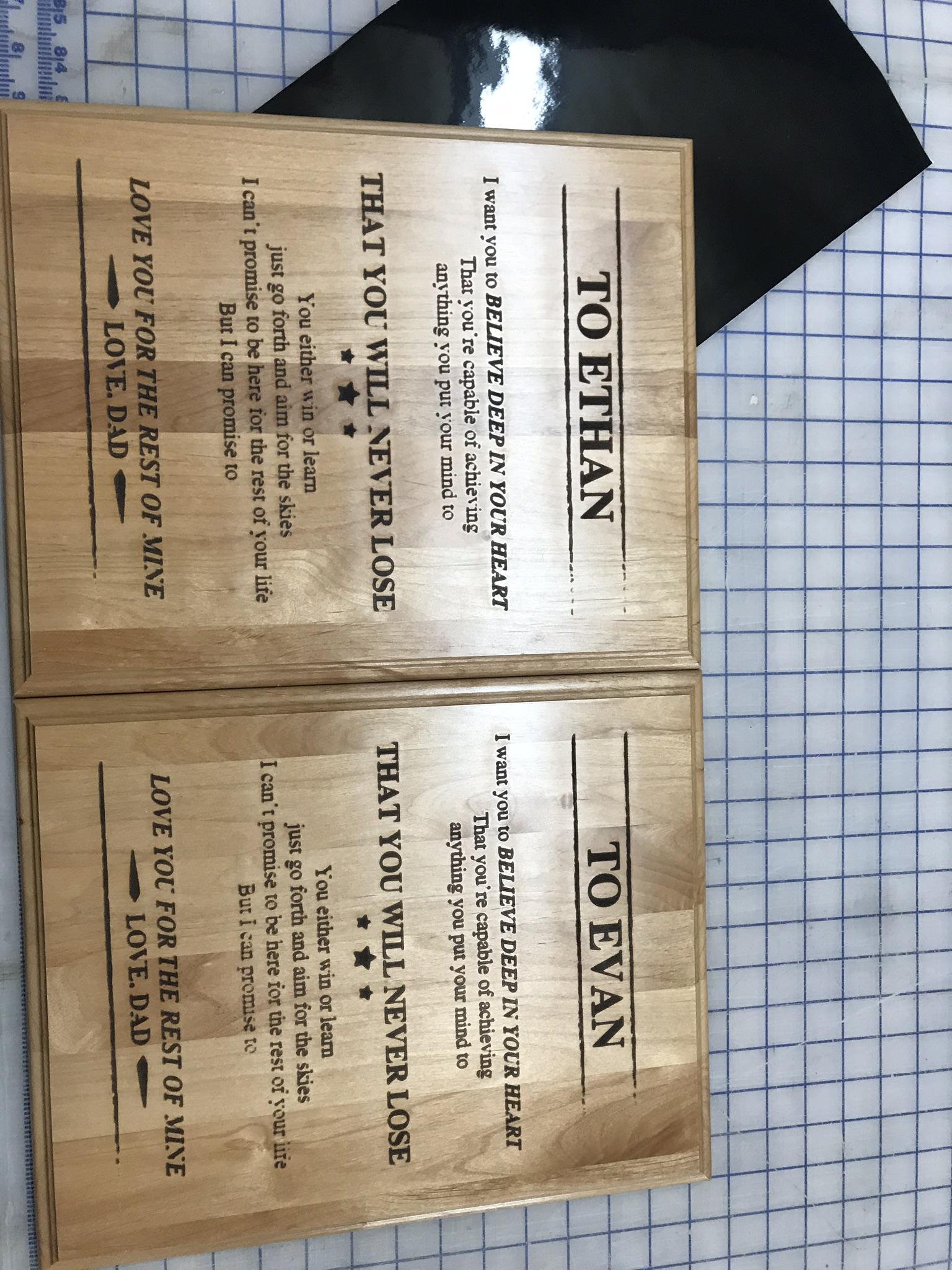 Wood burn plaques